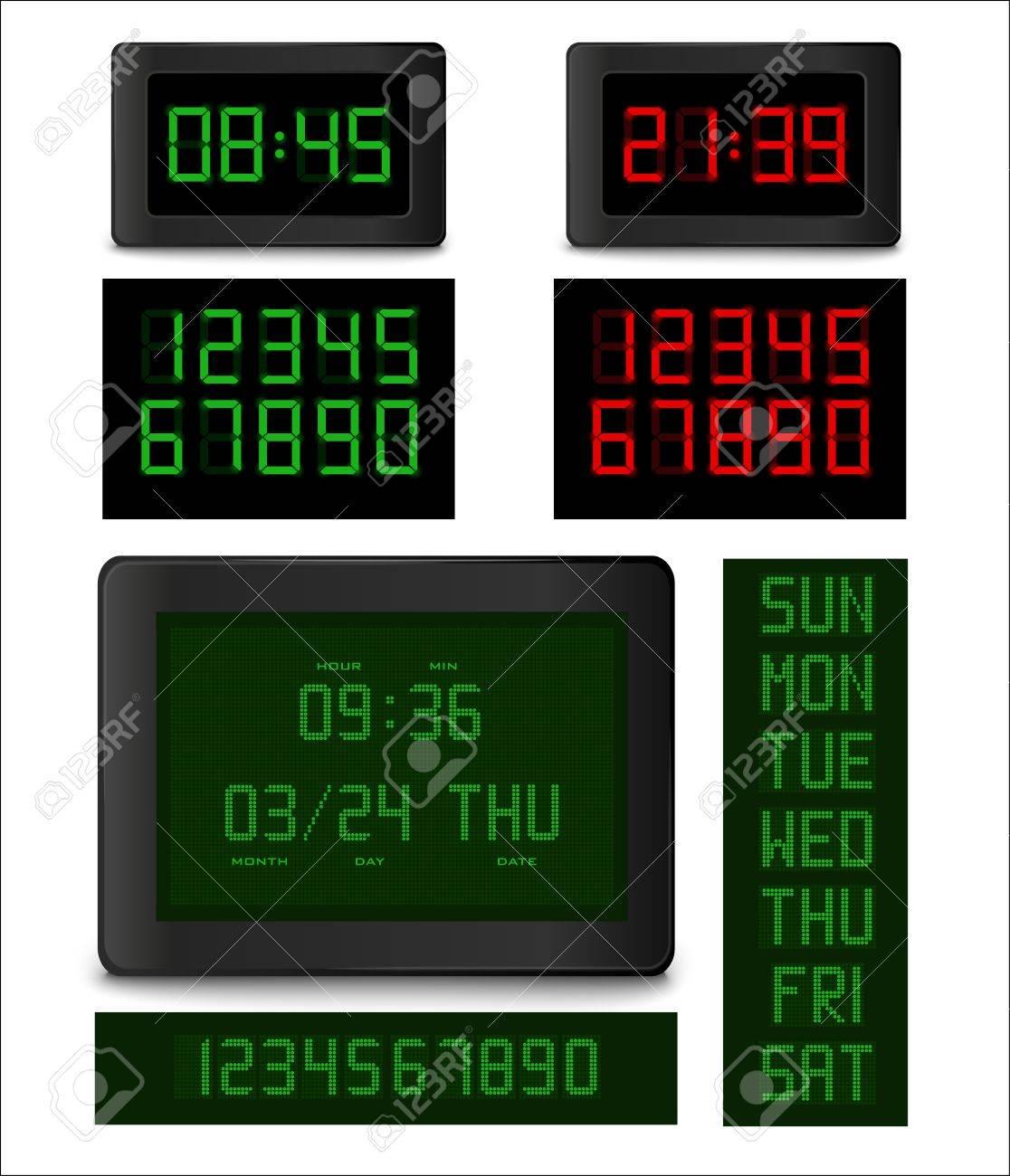 código promocional 98c74 8cca7 Reloj electrónico. Los diferentes tipos de reloj digital con un conjunto  completo de números y los días de semana. ilustración vectorial