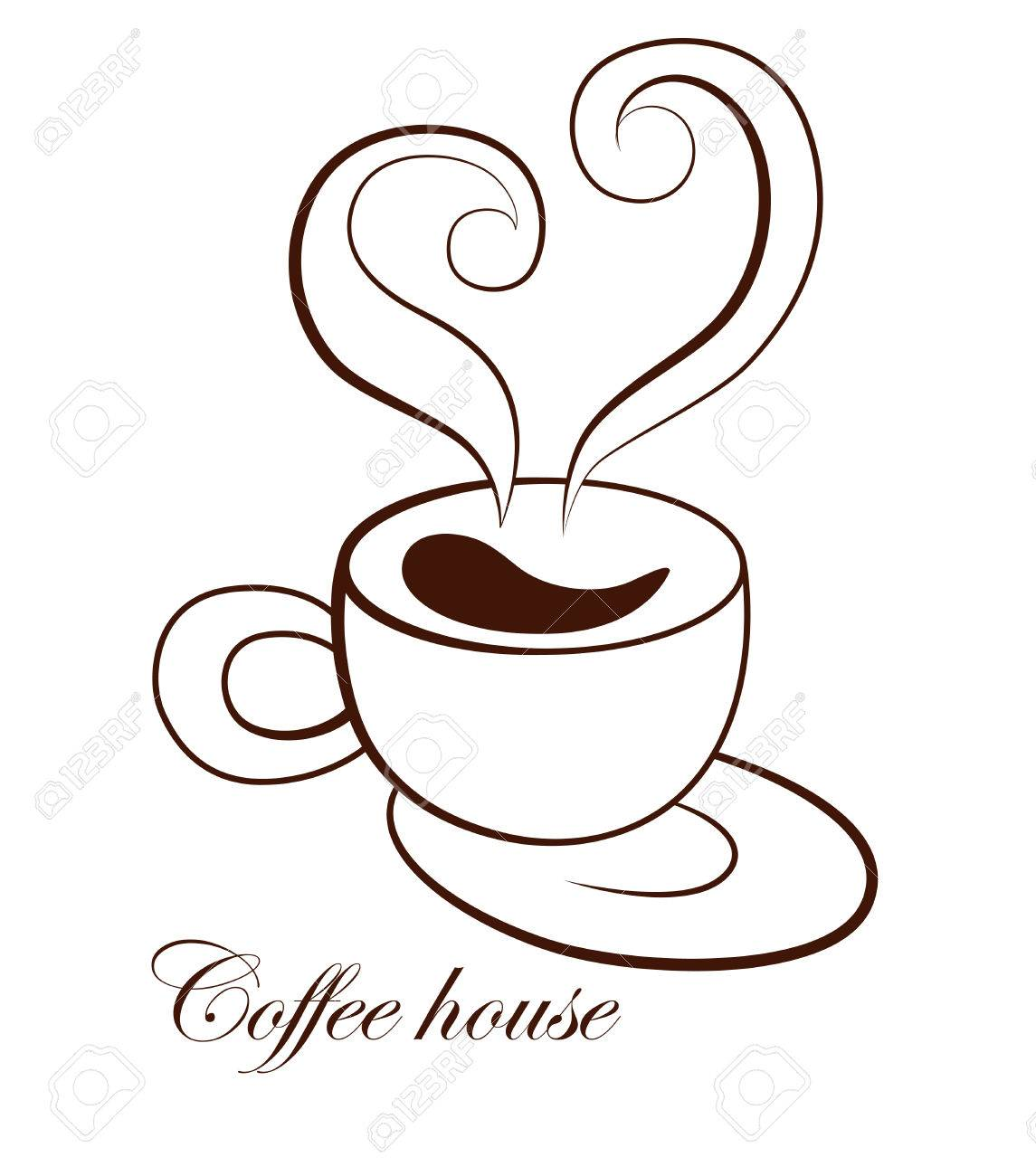 Stylized Image Of A Cup Of Coffee With Saucer And Steam In The Royalty Free Cliparts Vectors And Stock Illustration Image 67484640