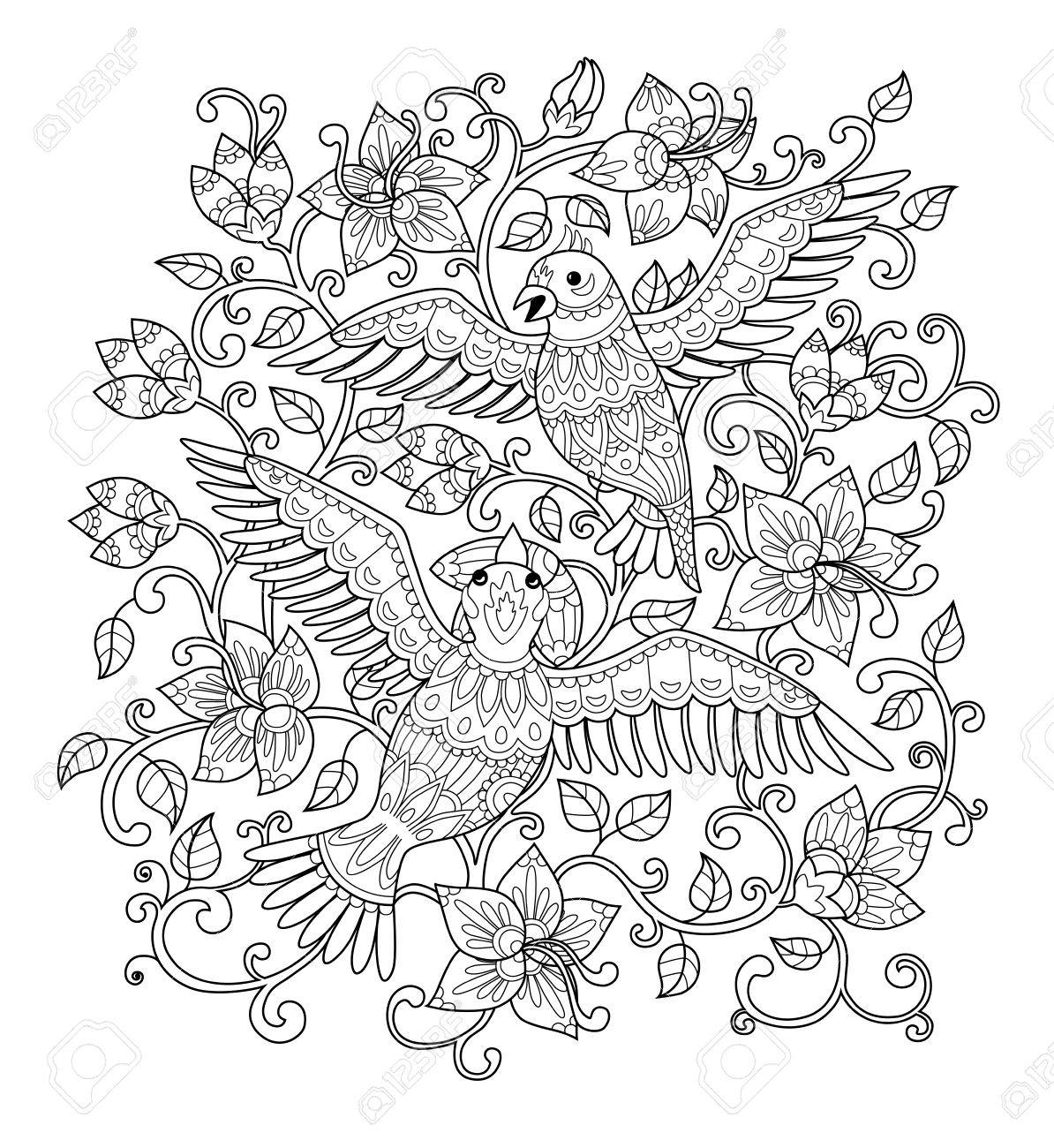 Vector Illustration Hand Drawn Decorative Outline Bird In The Bush Flowers Adult Coloring Book Page Vertical