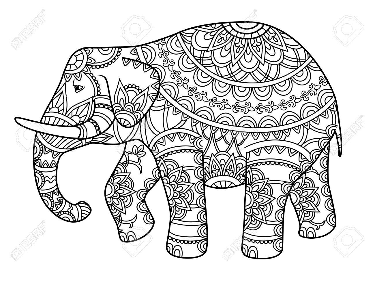 Hand Drawn Decorative Outline Elephant With Indian Patterns