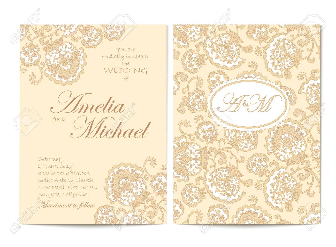 Elegant wedding invitation card template in beige colors flyer elegant wedding invitation card template in beige colors flyer decorated with ornamental flower greeting stopboris Image collections