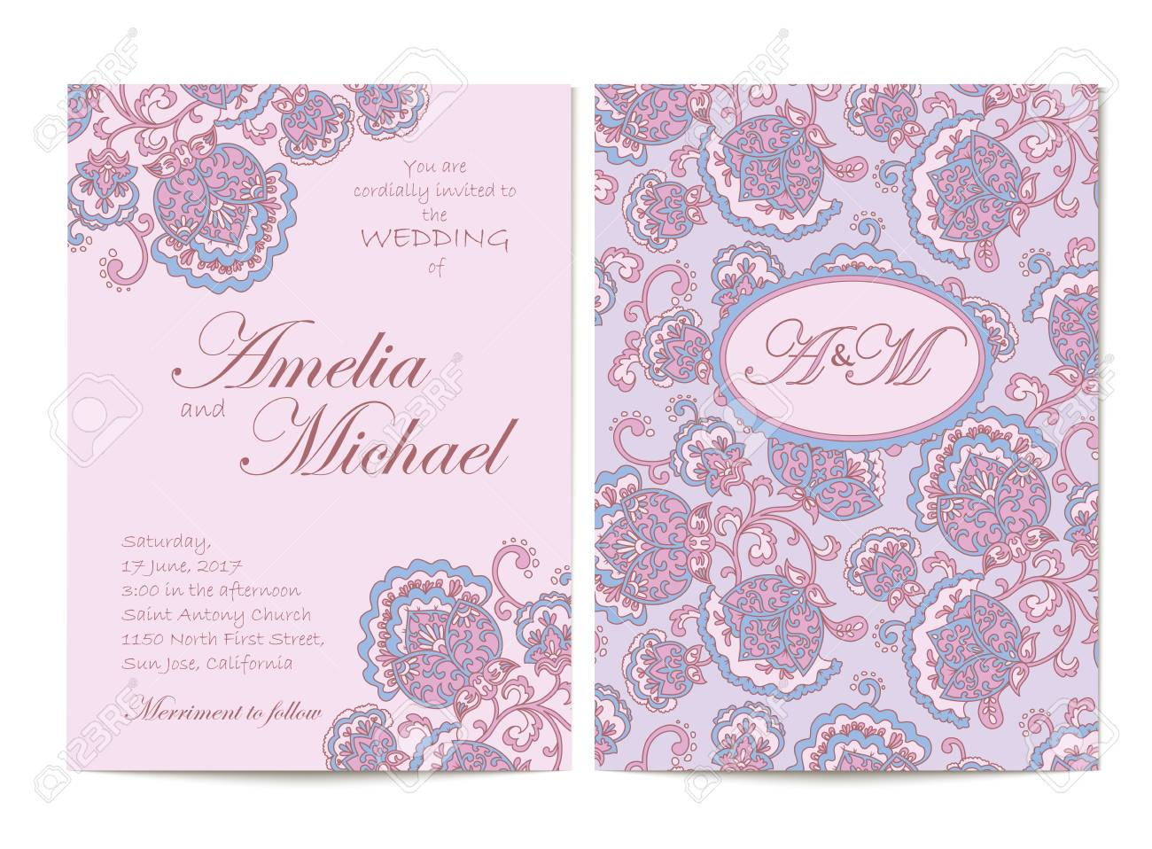 Elegant wedding invitation card template in light purple colors banco de imagens elegant wedding invitation card template in light purple colors flyer decorated with ornamental flower greeting card with floral stopboris Images