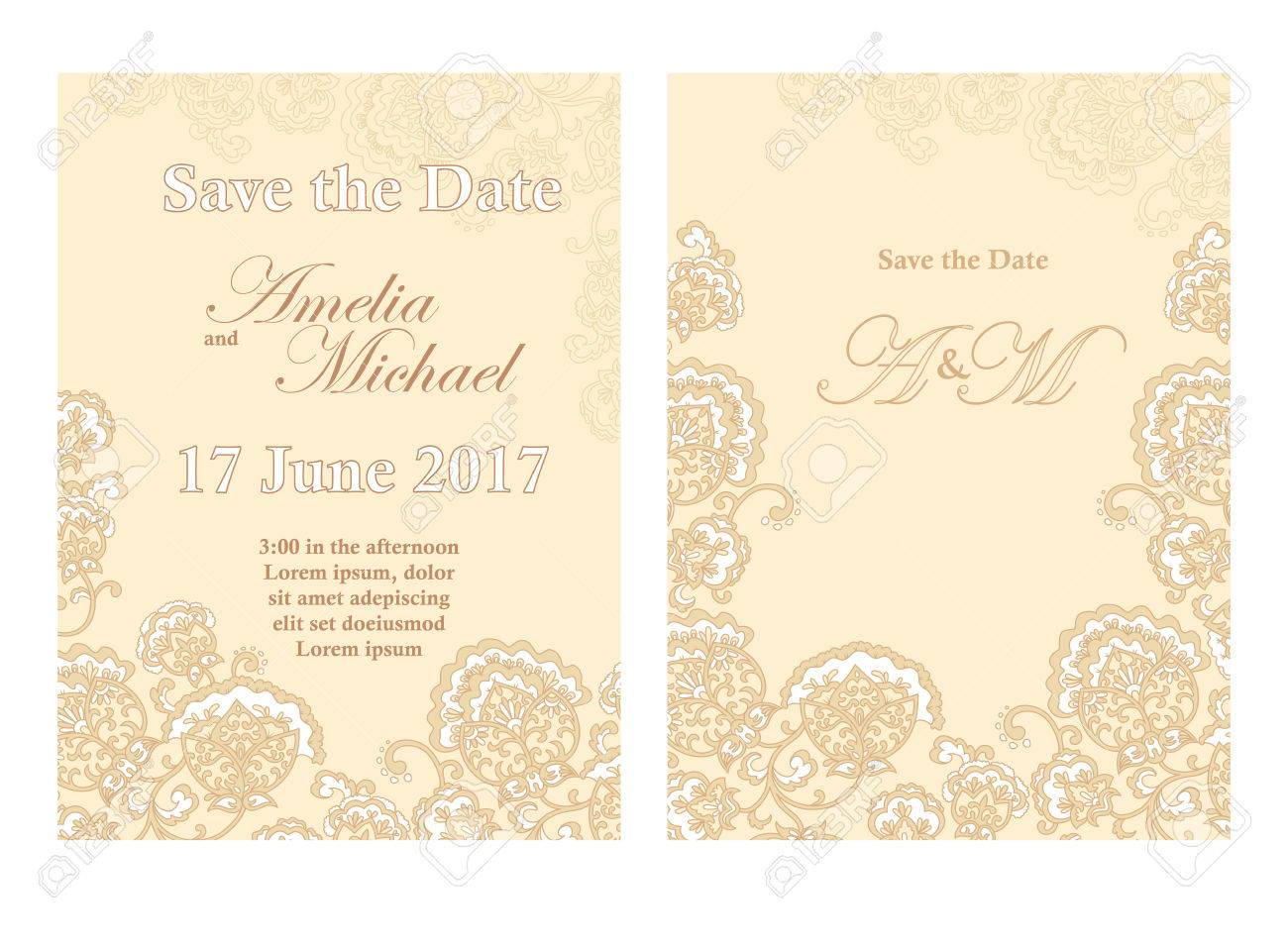 Save The Date Card Template In Beige Colors. Flyer Decorated ...