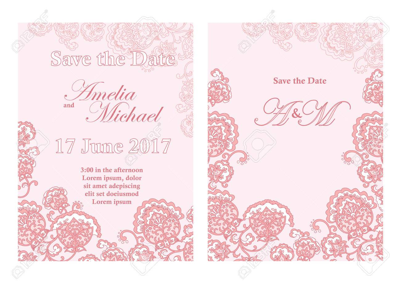Save The Date Card Template In Pinkcolors Flyer Decorated With