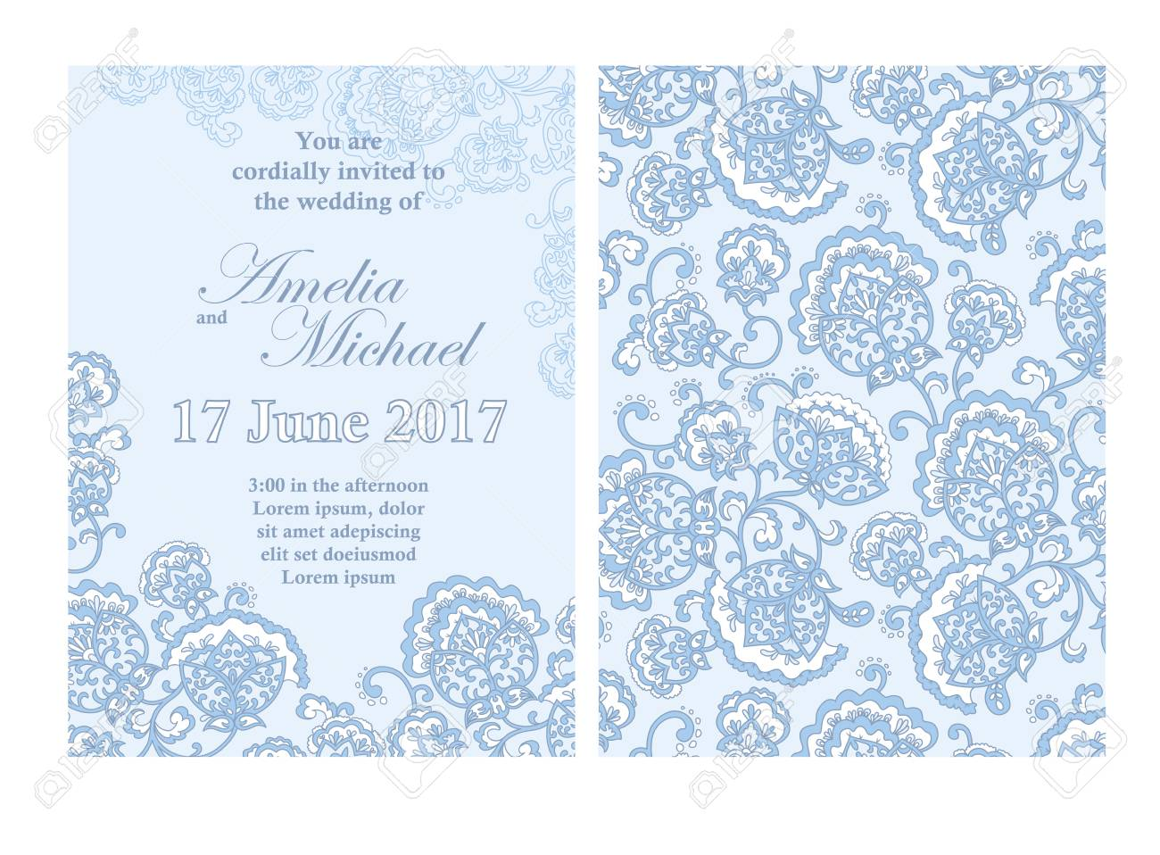 Elegant Wedding Invitation Card Template In Light Blue Colors