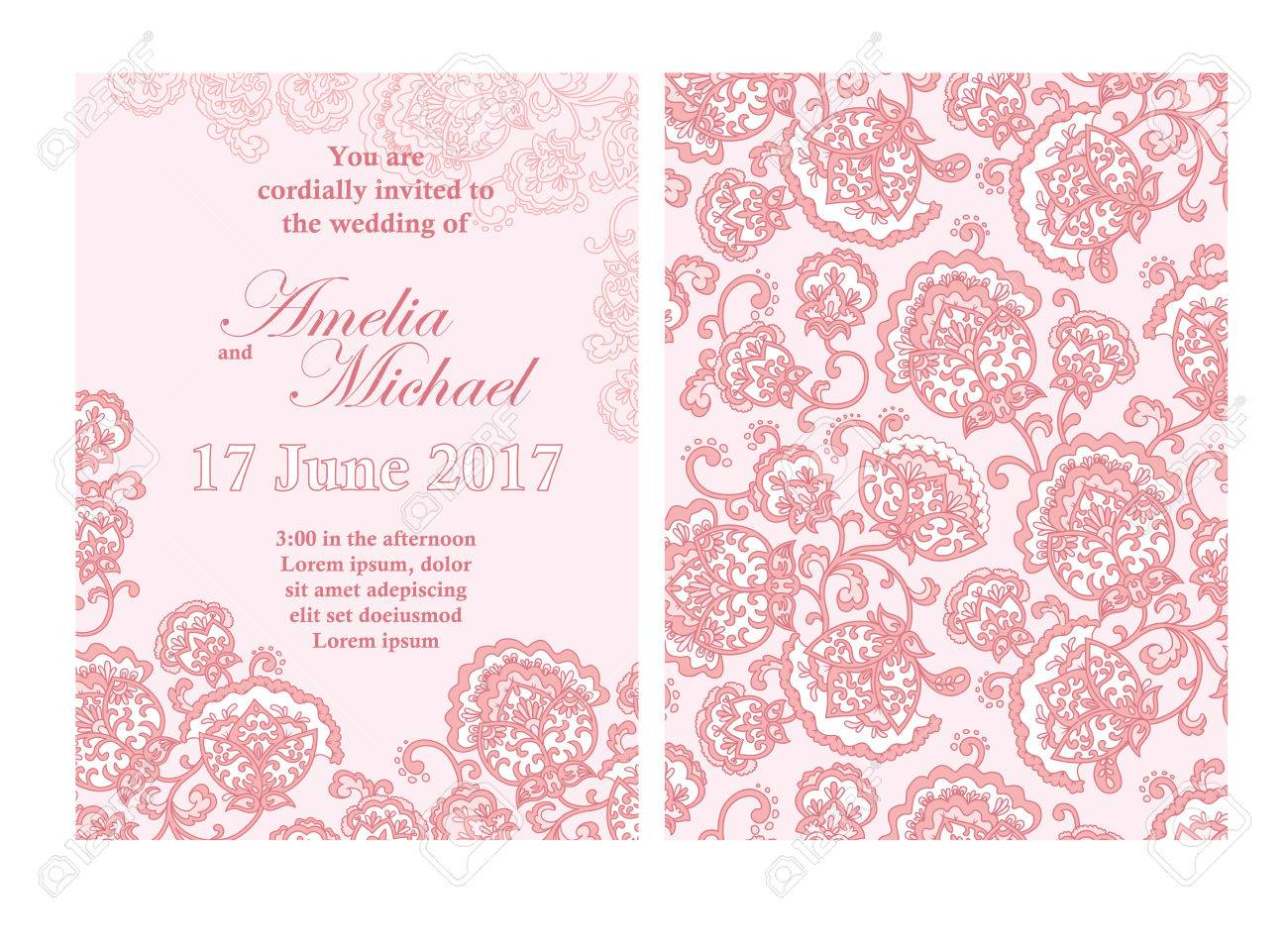 Elegant wedding invitation card template in pink colors flyer banco de imagens elegant wedding invitation card template in pink colors flyer decorated with ornamental flower greeting card with floral pattern stopboris Image collections