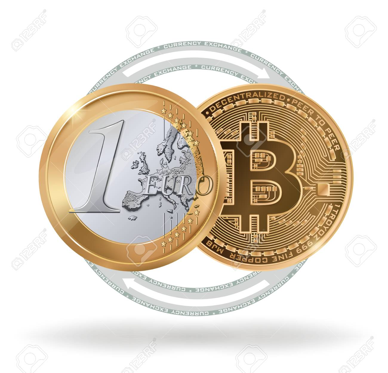 Realistic 1 Euro coin and 1 bitcoin as a symbol of exchange  cryptocurrency