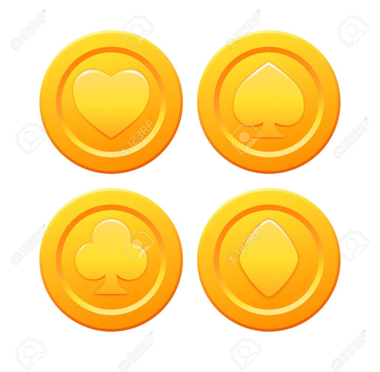 Vettoriale - Set Di Monete D\'oro Stilizzate Con Semi Delle Carte Da ...