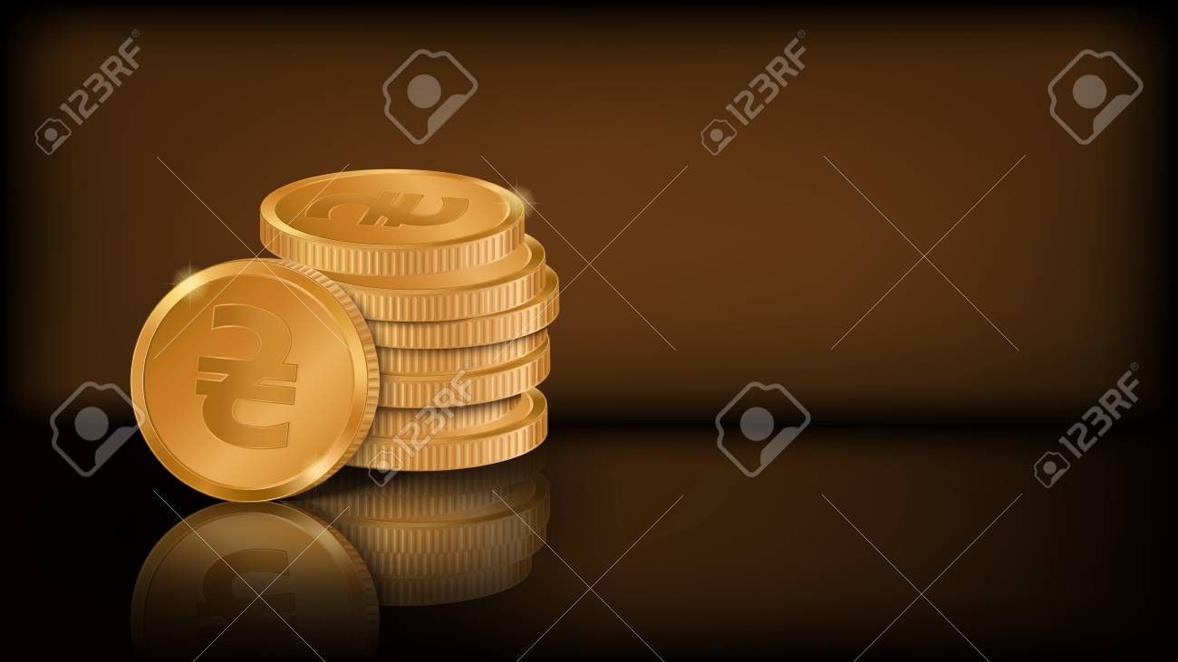 Horizontal Dark Background With Place For Your Text Stylized Coin