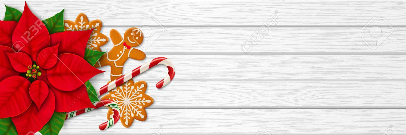 5502ed85a95b9 Horizontal Christmas Web Banner. Poinsettia