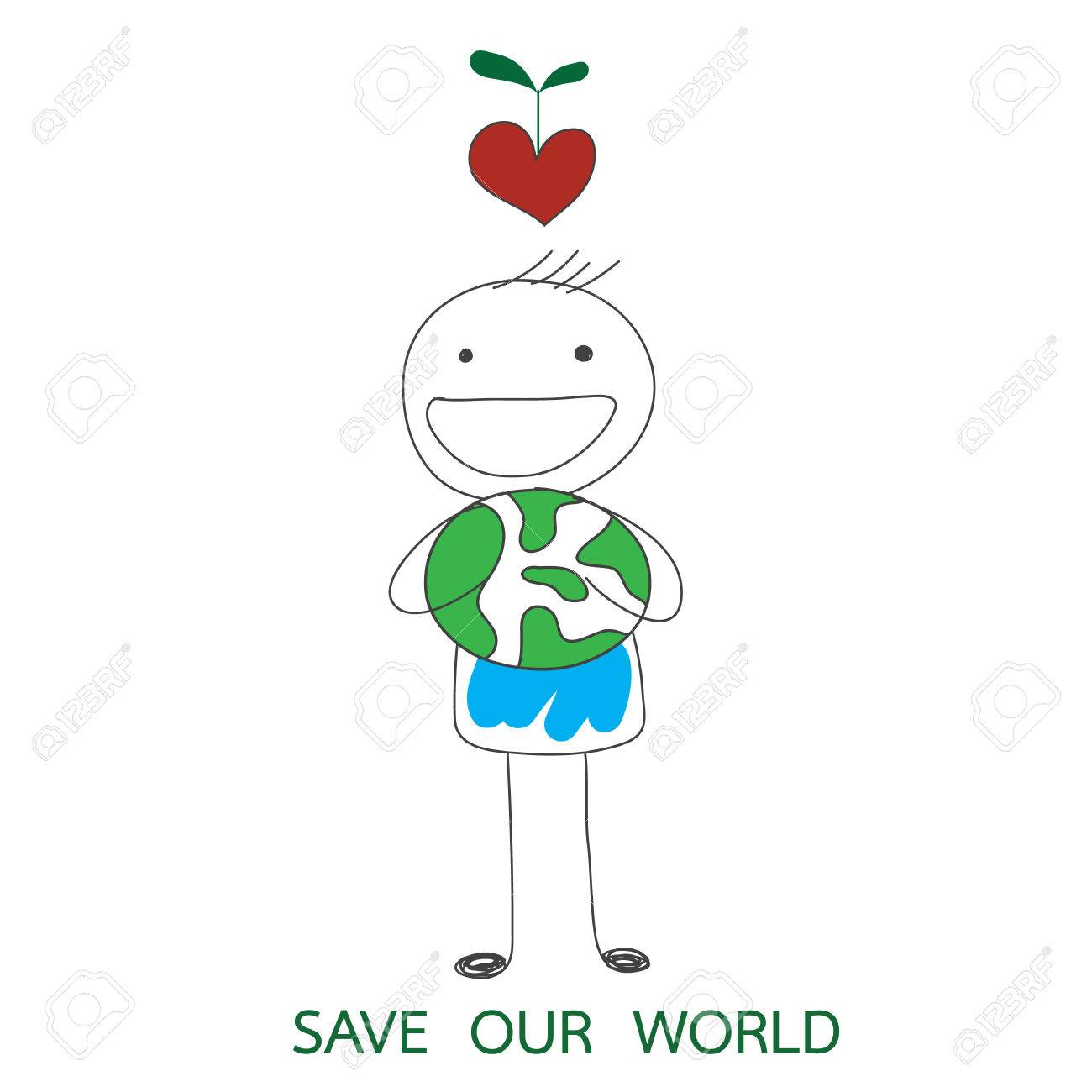 Man Holding Green World And Red Heart With Growing Plant On His