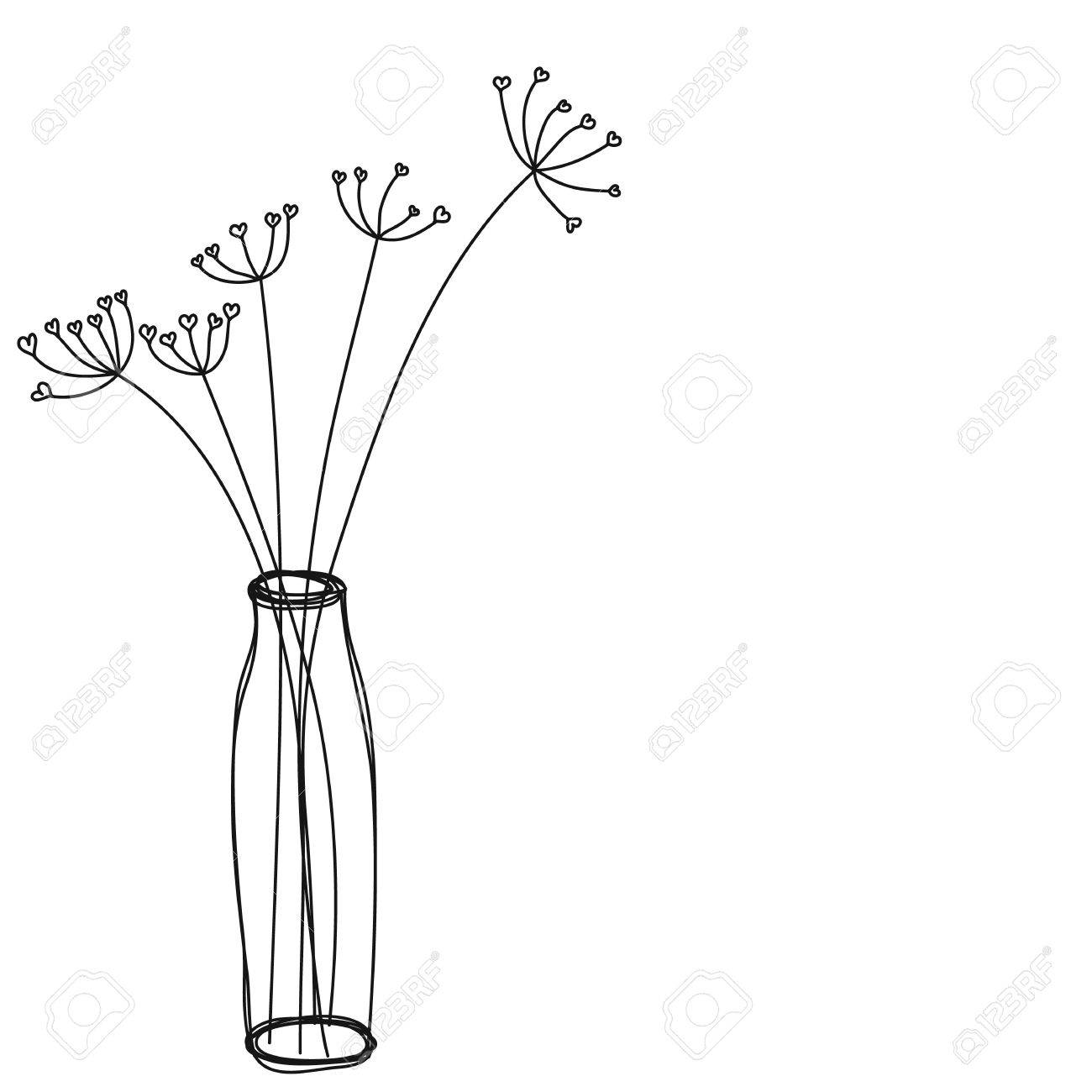 225 & flowers in a vase icon hand drawn vector