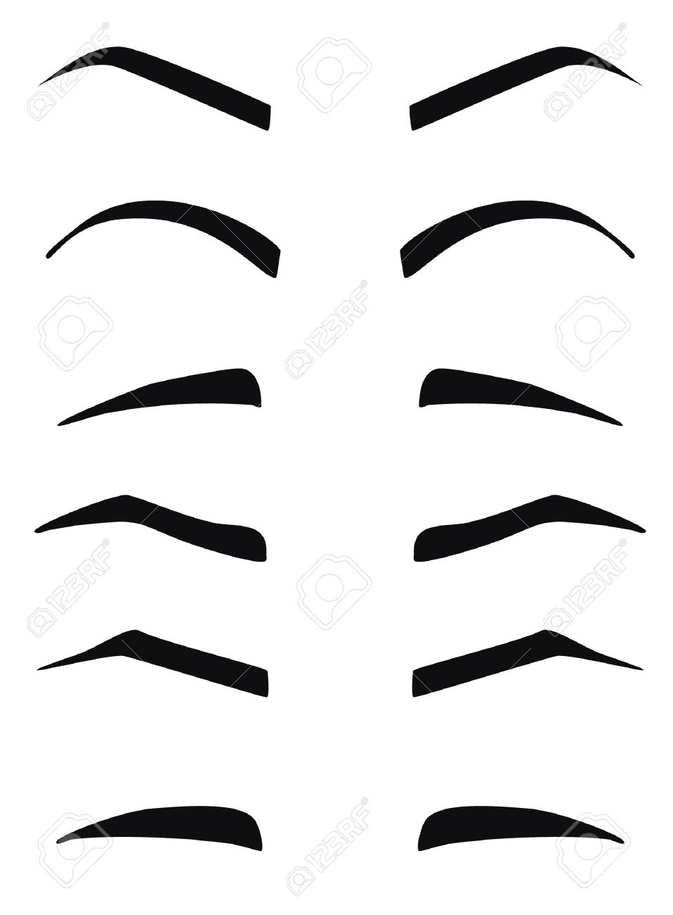 Types And Forms Of Eyebrows Vector Eeybrows Vector Royalty Free