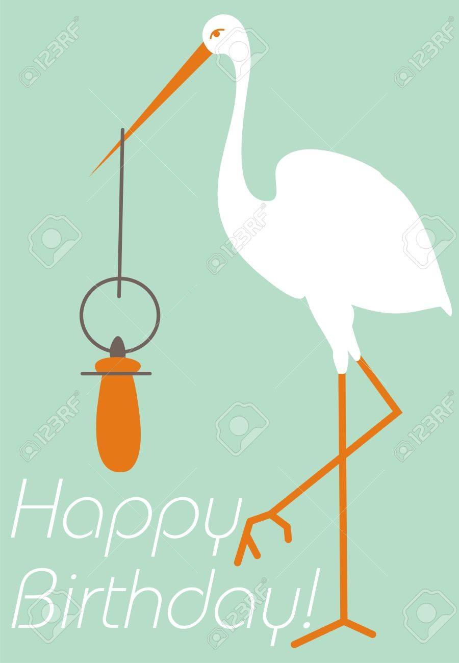 Alles Gute Zum Geburtstag Baby. Stork Und Nippel. Kinder Stil. Alles ...