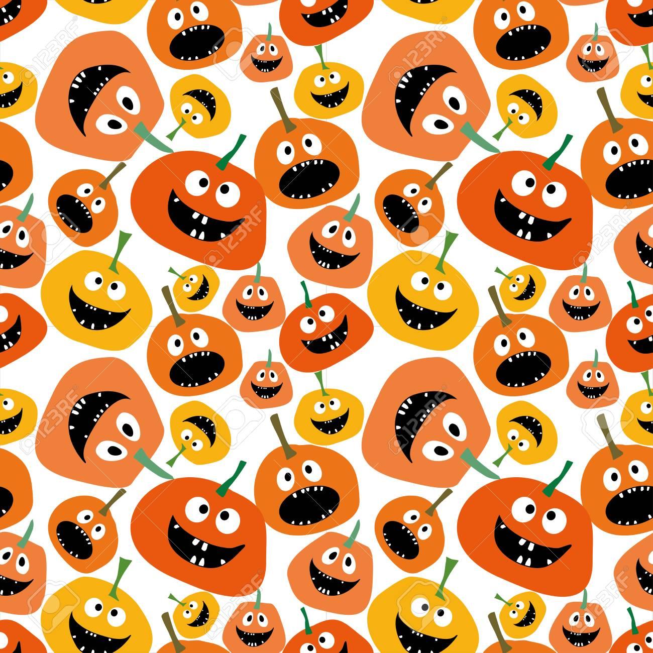 Pumpkin Seamless Pattern On White Background Pumpkin Seamless
