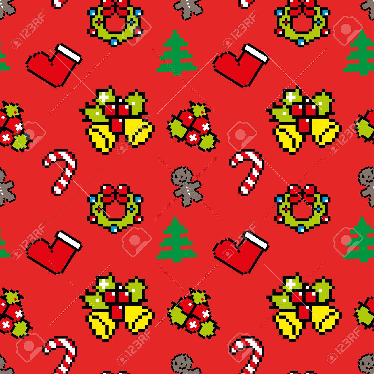 Background With Christmas Symbols Pixel Art Winter Pattern Red