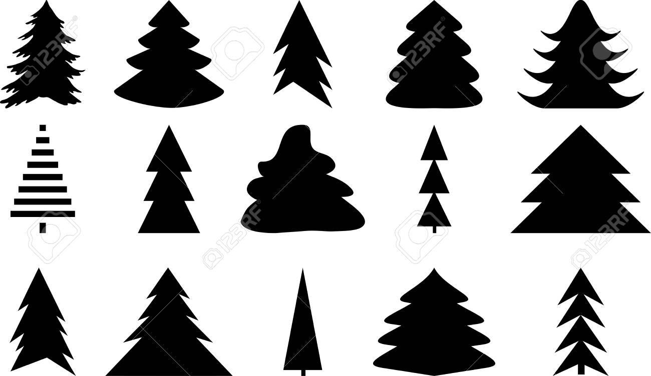 Icons Set Of Christmas Tree Black On White Color Christmas Tree