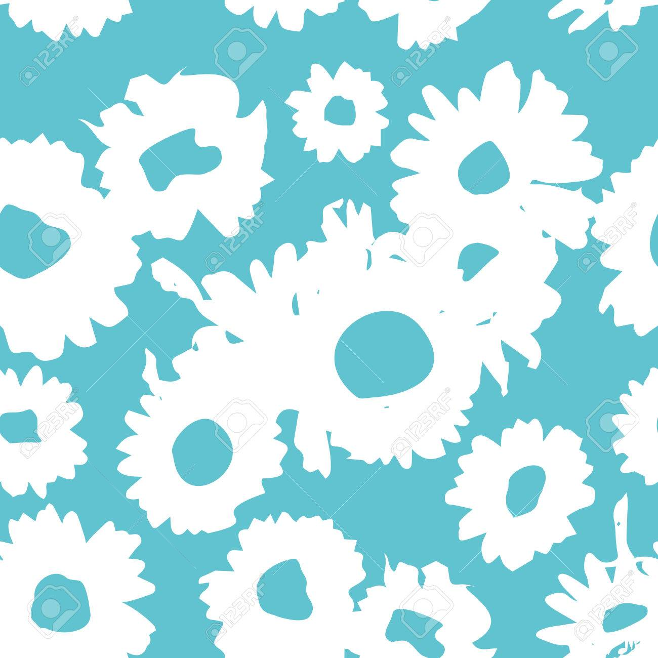 c3c773aa4072ee Blaues Muster Mit Gänseblümchen. Millefleurs Freiheit Stil. Ditsy ...