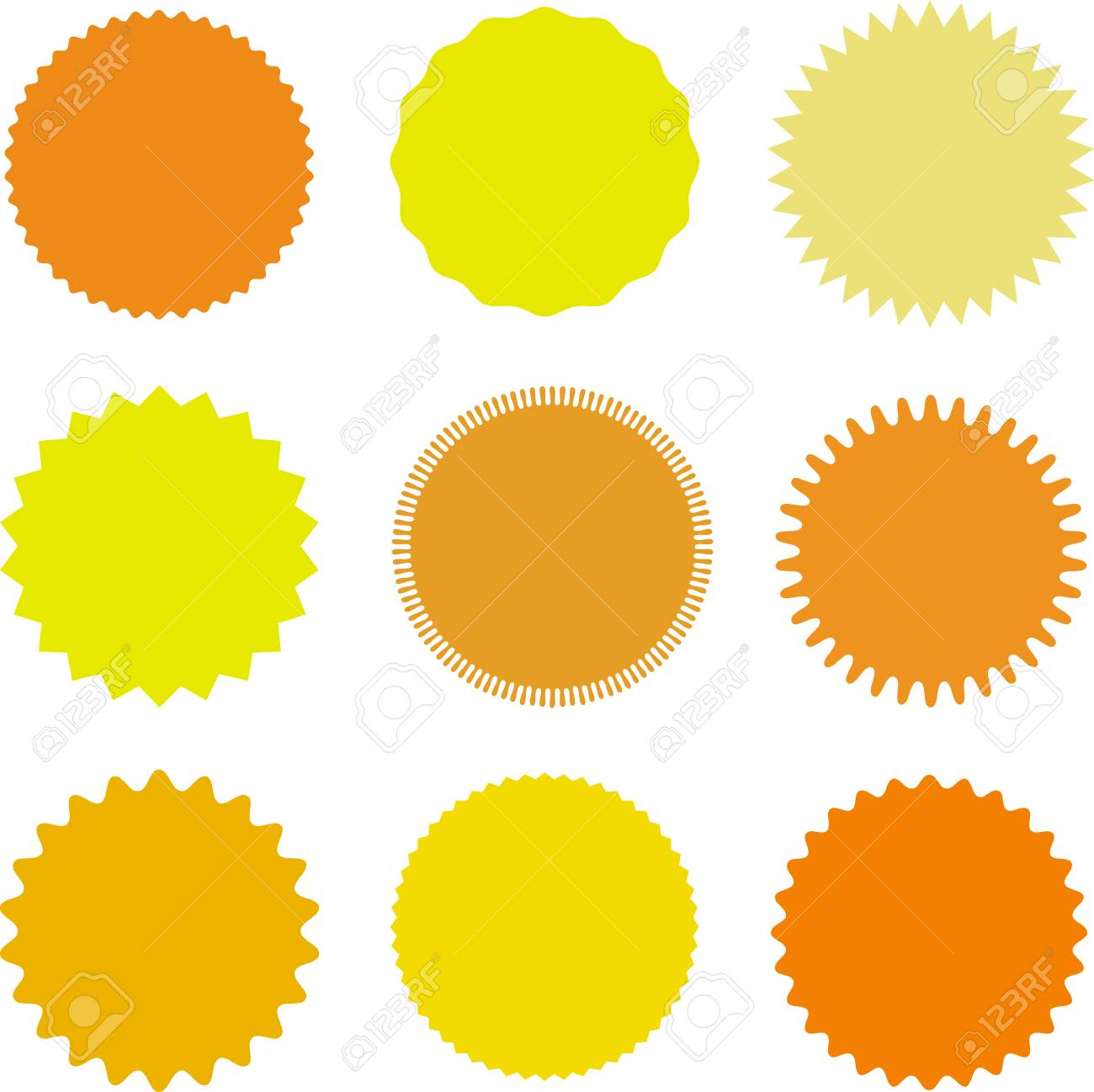 Set Of Vector Starburst Sunburst Badges Different Shades Of Royalty Free Cliparts Vectors And Stock Illustration Image 85422371