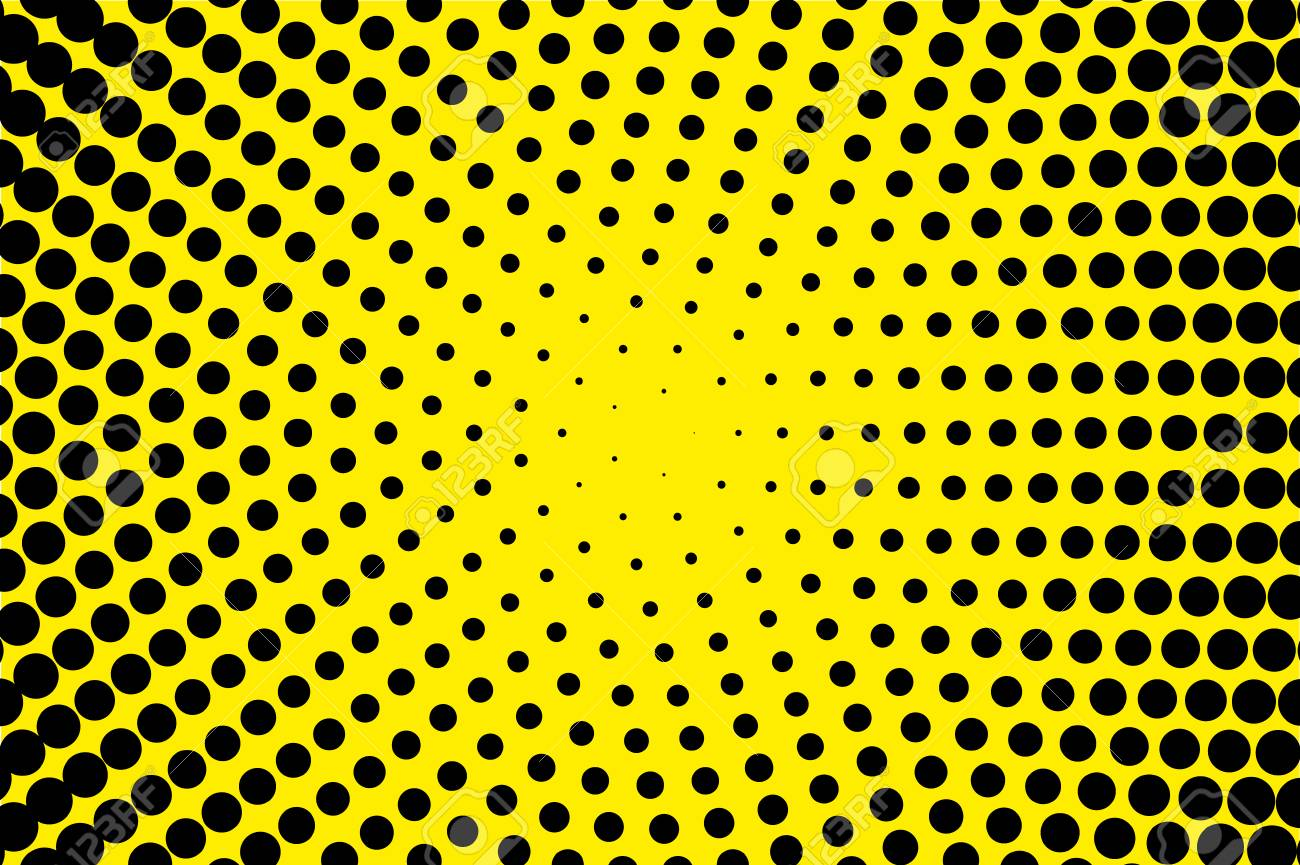 Comic Pattern Halftone Background Black Yellow Color Dotted