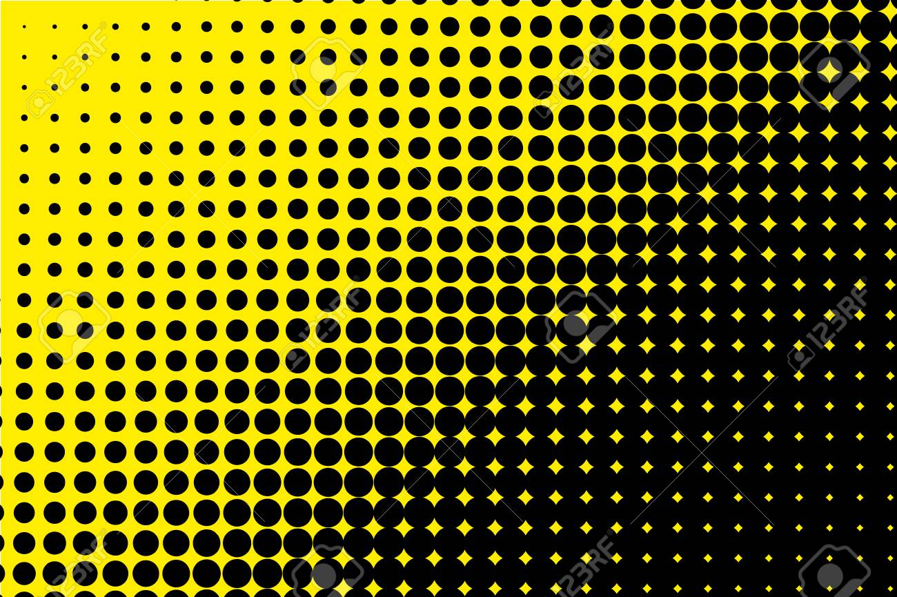 Comic Pattern Halftone Black Yellow Color Dotted Retro