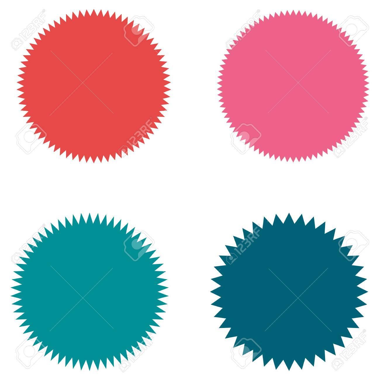 set of starburst sunburst badges labels stickers pink and