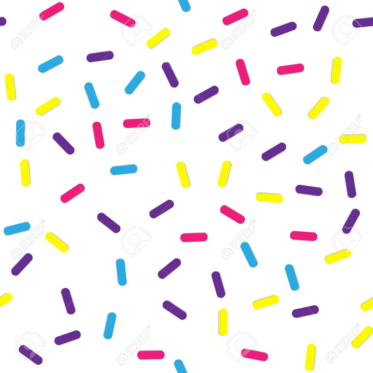 紙吹雪やドーナツの釉薬と祭りのシームレスなパターンを振りかけます