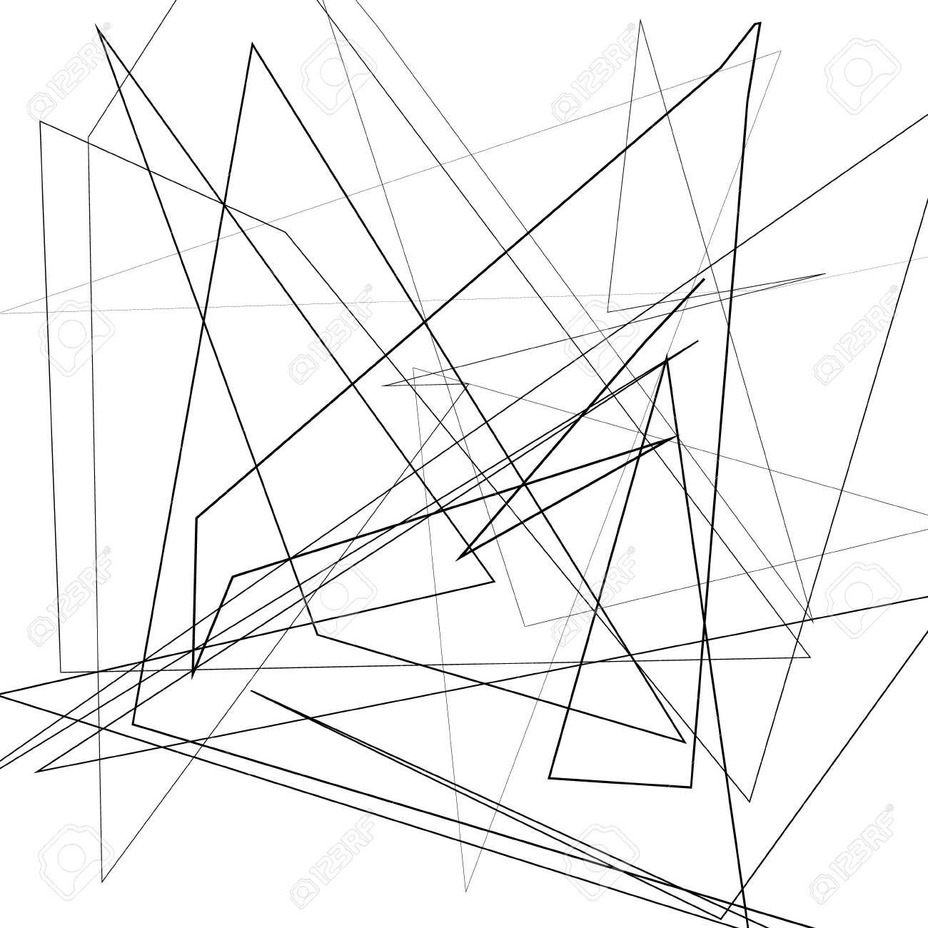 Black and white vector illustration of design element for creating modern art backgrounds, patterns. Asymmetrical texture with random chaotic lines, abstract geometric pattern. Grunge urban style - 133303632