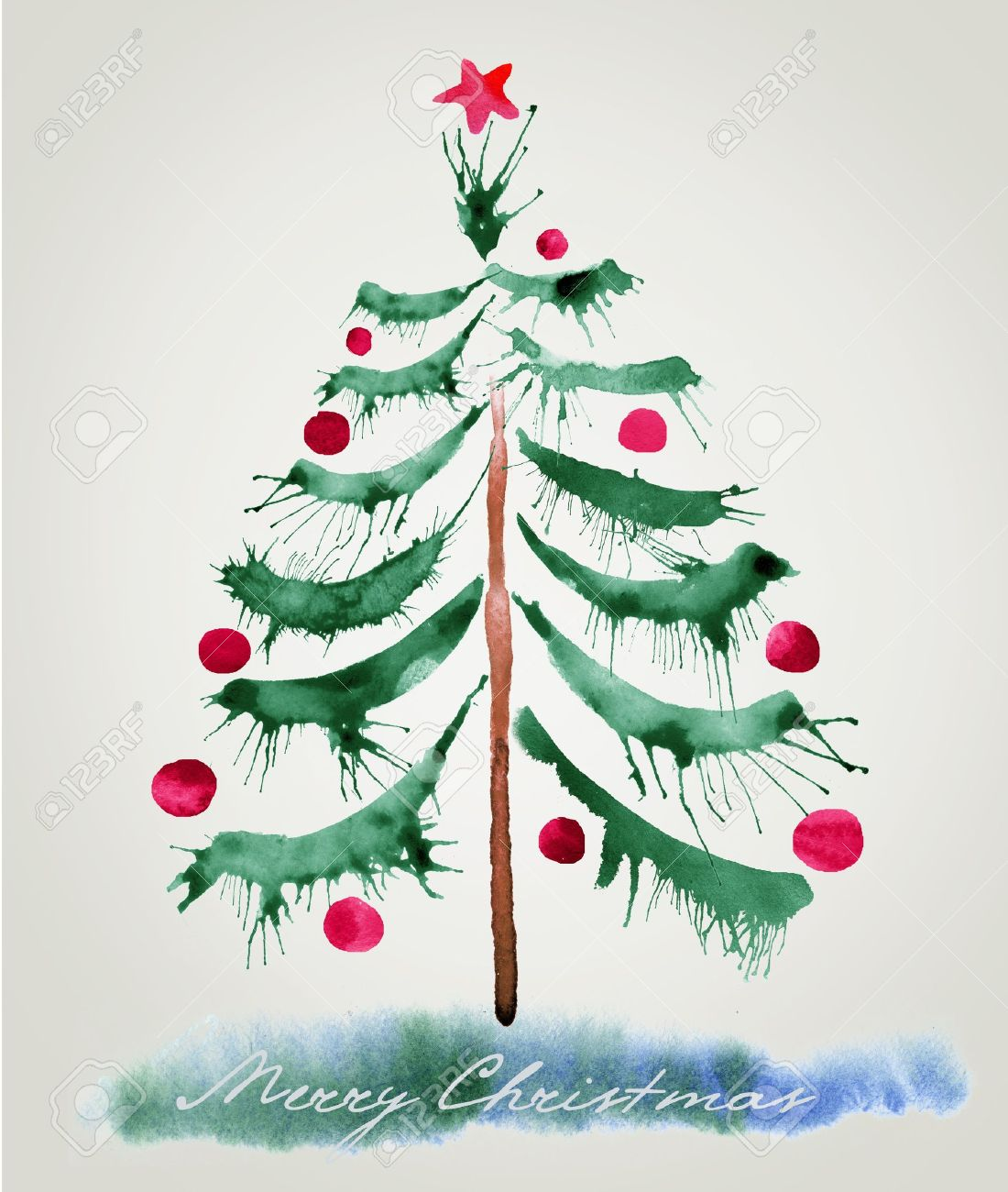 Christmas Tree Watercolor Painting Stock Photo Picture And Royalty