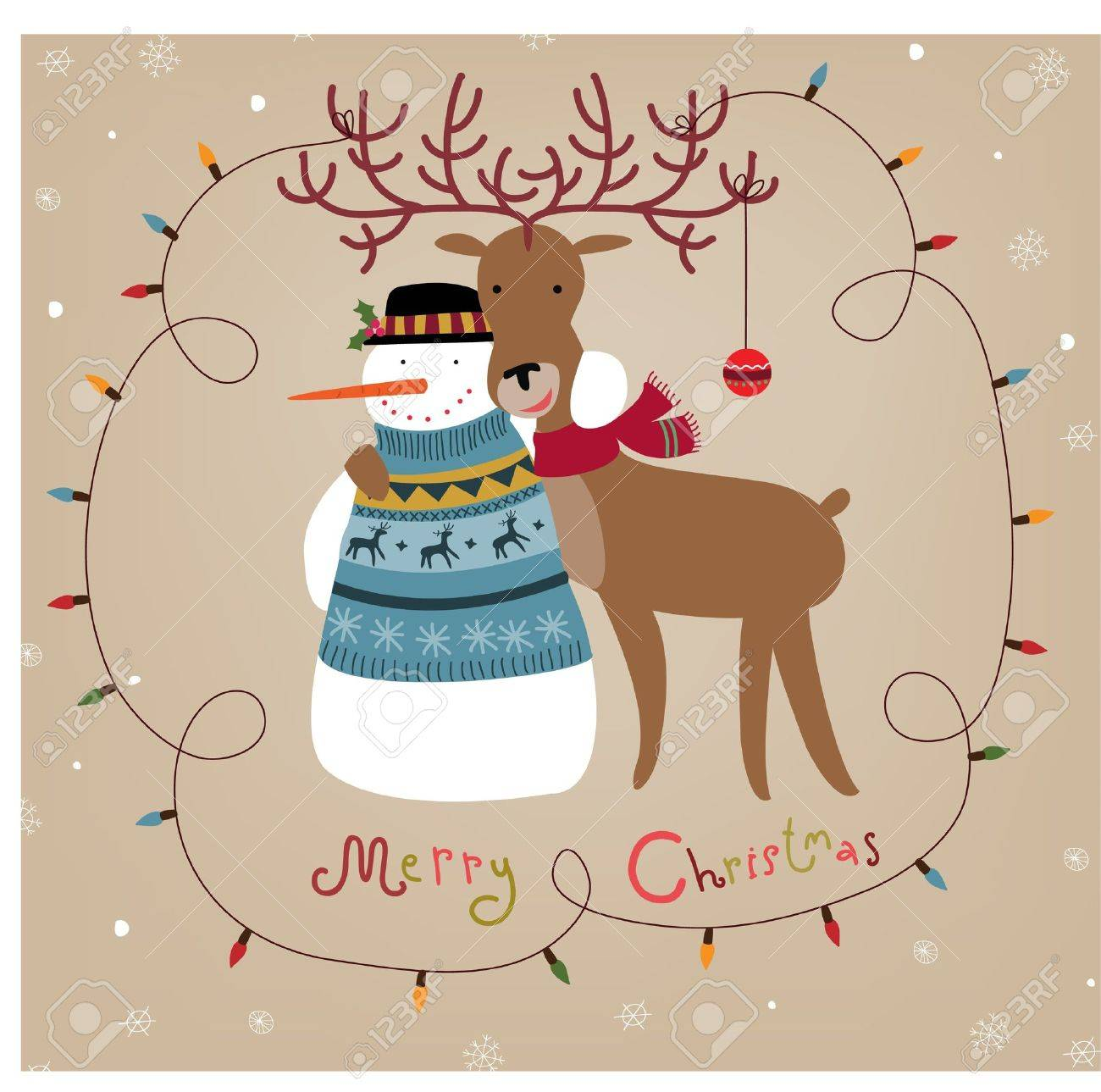 Christmas background with snowman and reindeer Stock Vector - 10832115