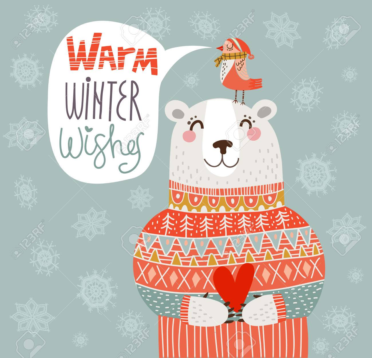 Warm Winter Wishes Card In Vector Royalty Free Cliparts Vectors And Stock Illustration Image 32623573