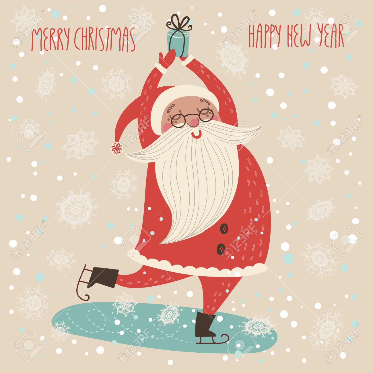 Merry Christmas Card In Vector.Cute Funny Santa Claus Stock Vector    32622316