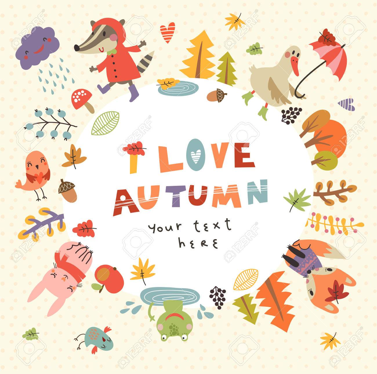 Cute autumn background with the characters. Vector illustration with cute animals - 64825534