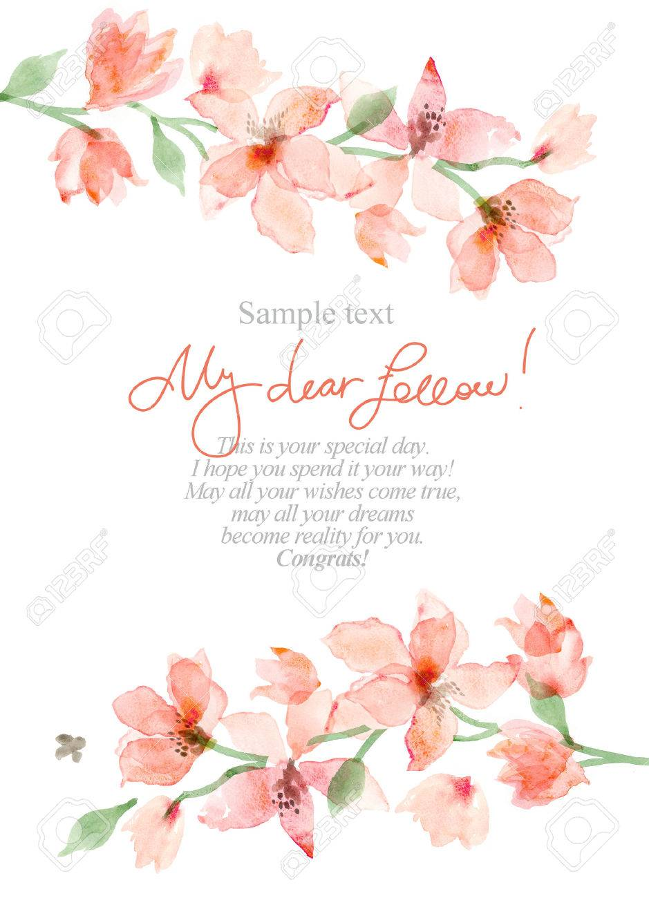 Watercolor Sakura. Floral background, flower painting - 64825601
