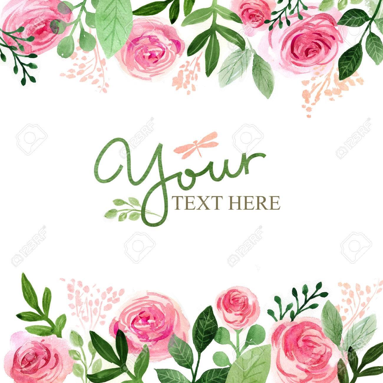 Watercolor floral greeting card. Flowers roses. Handmade. Vintage background - 65587970