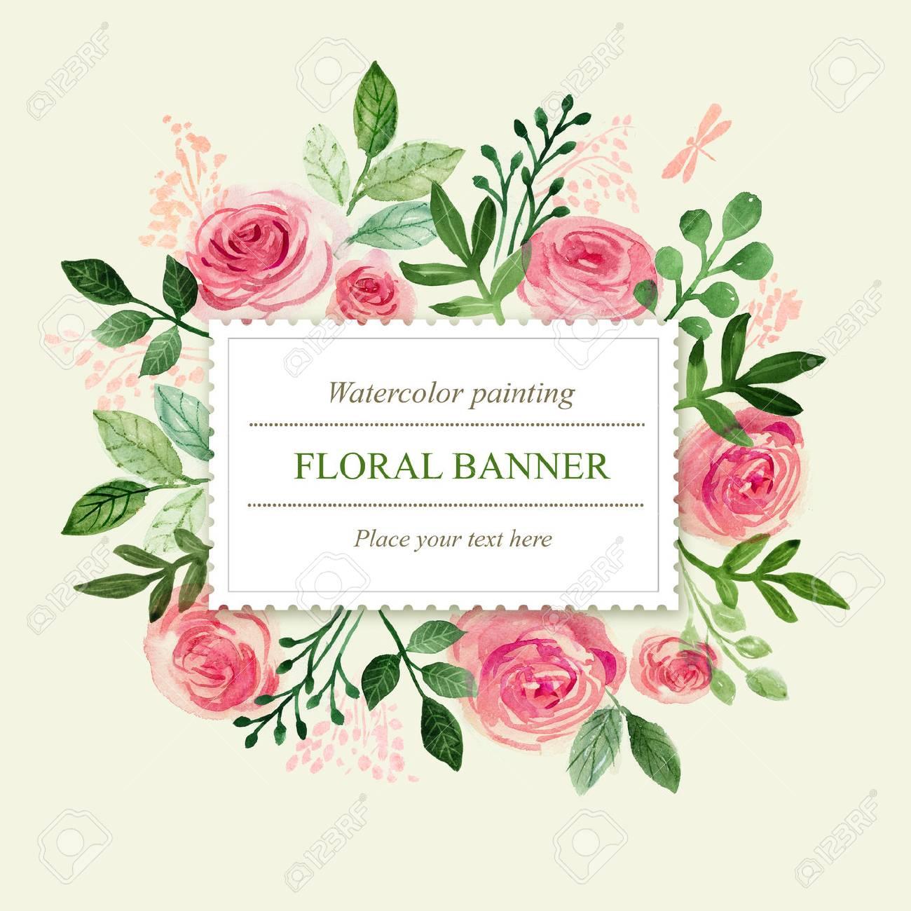 Watercolor floral greeting card. Flowers roses. Handmade. Vintage background - 65587971