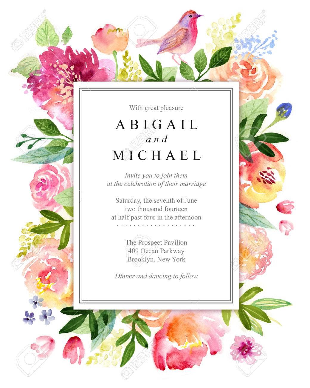 Watercolor floral greeting card. Flowers roses. Handmade. Vintage background - 65587977