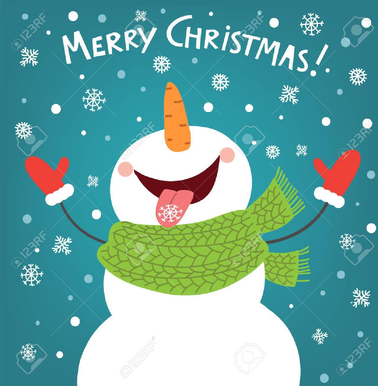 Funny snowman enjoying the snowflakes. Christmas card illustration - 66093384