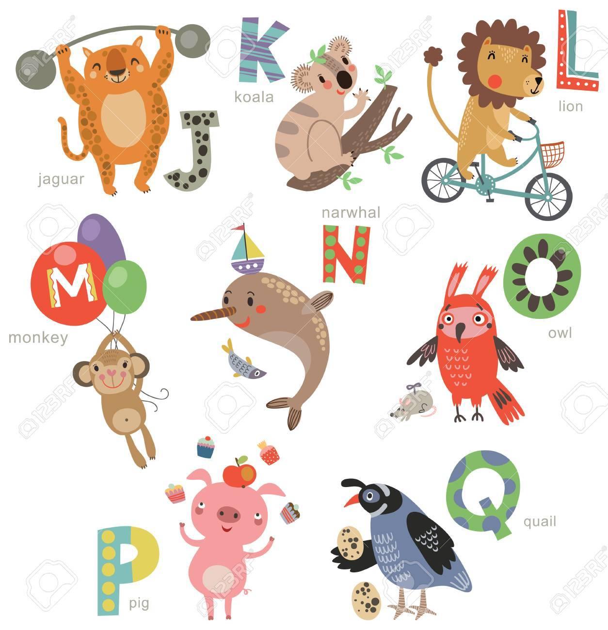 子供の動物園のアルファベット。文字やイラストのセットです。かわいい