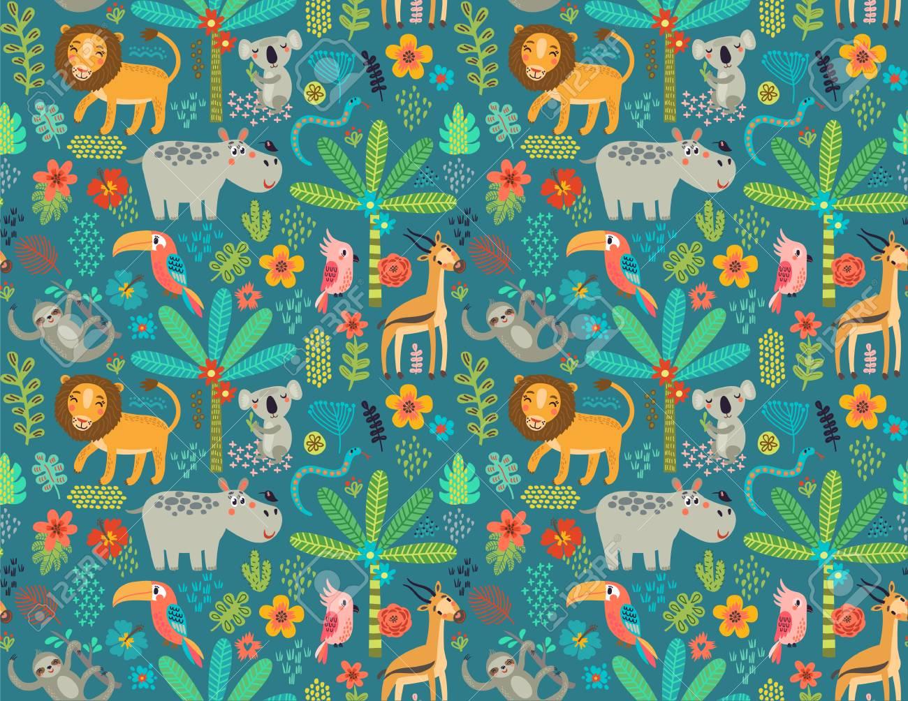 Seamless pattern with jungle animals - 77627476