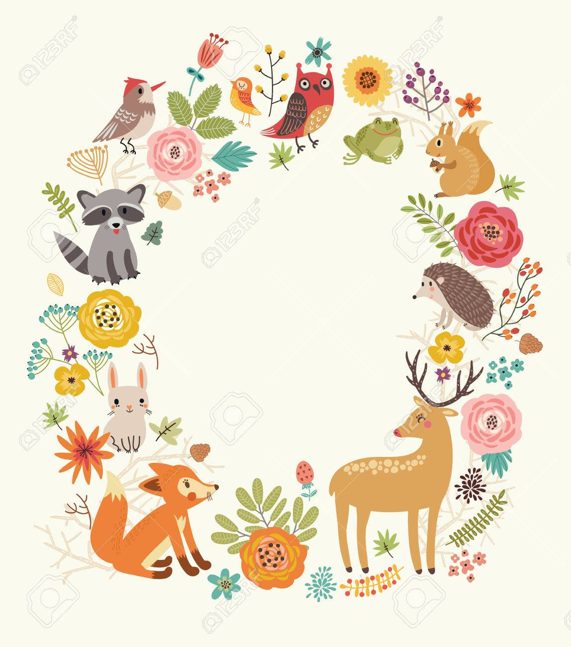 Forest background with animals - 77627480