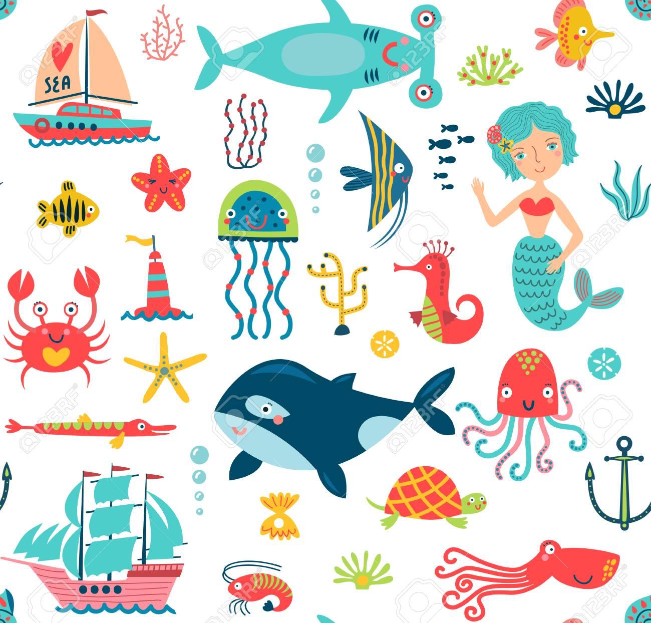 Marine life seamless pattern - 82717620