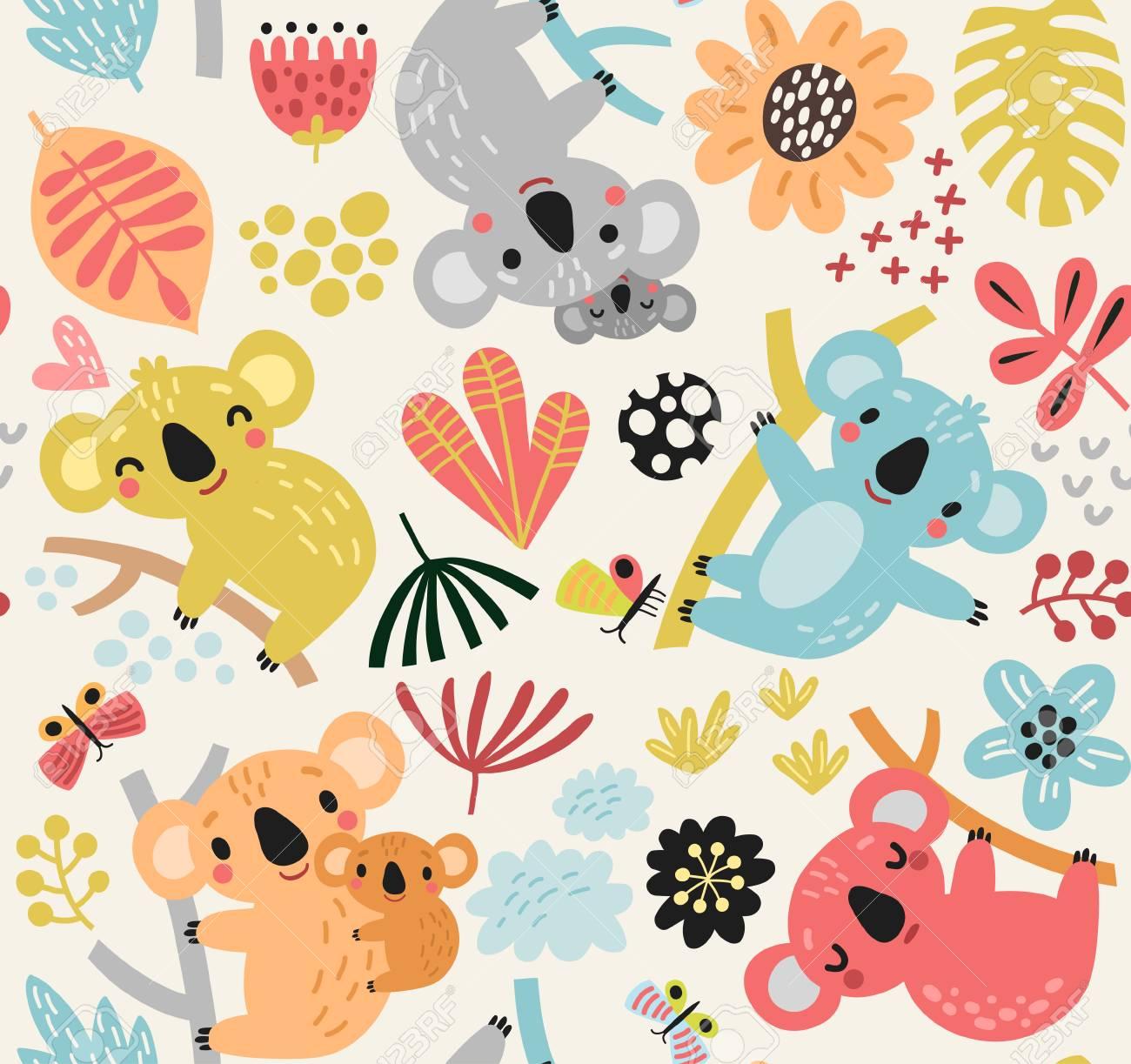 Seamless pattern with koala - 100134671