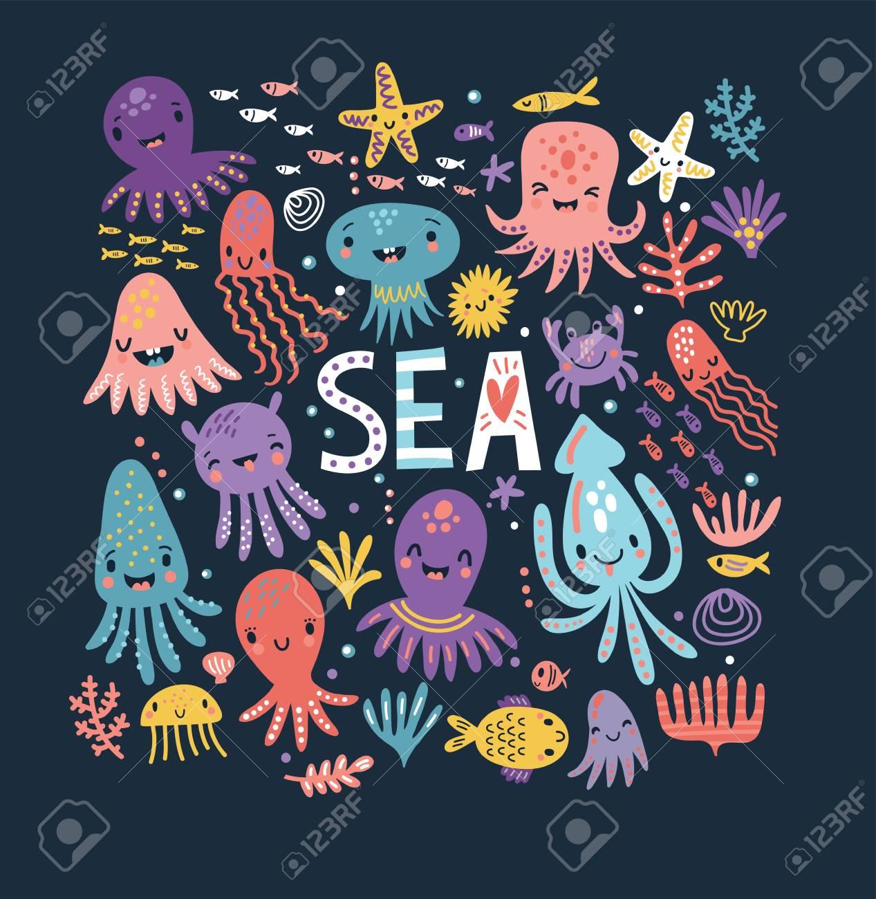Cute octopus poster - 106170083