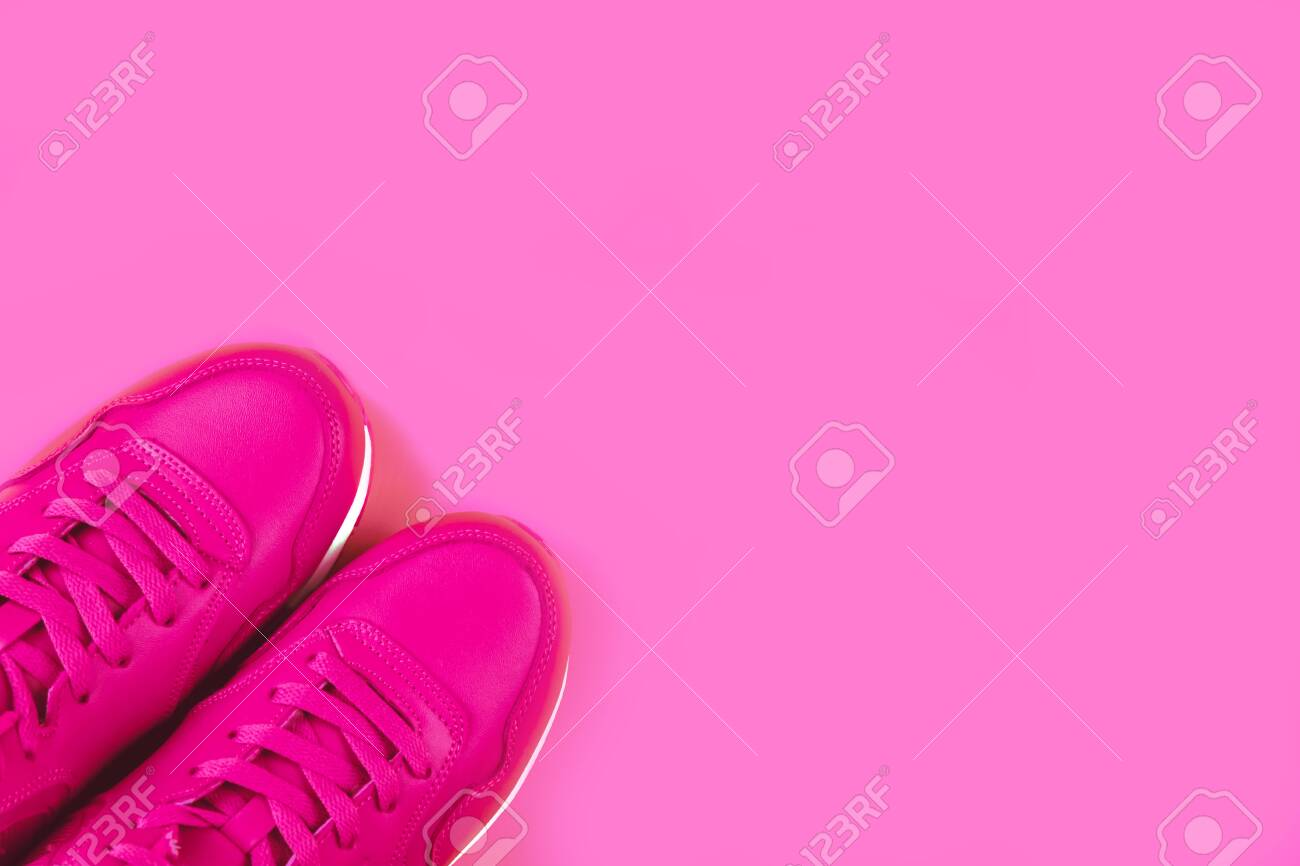 Pink Background. Concept Of Woman Sport