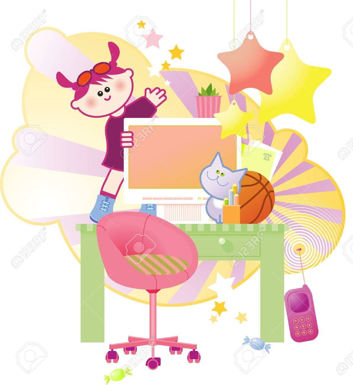Happy cute little girl jumping and dancing on her computer table. Stock Vector - 4296070