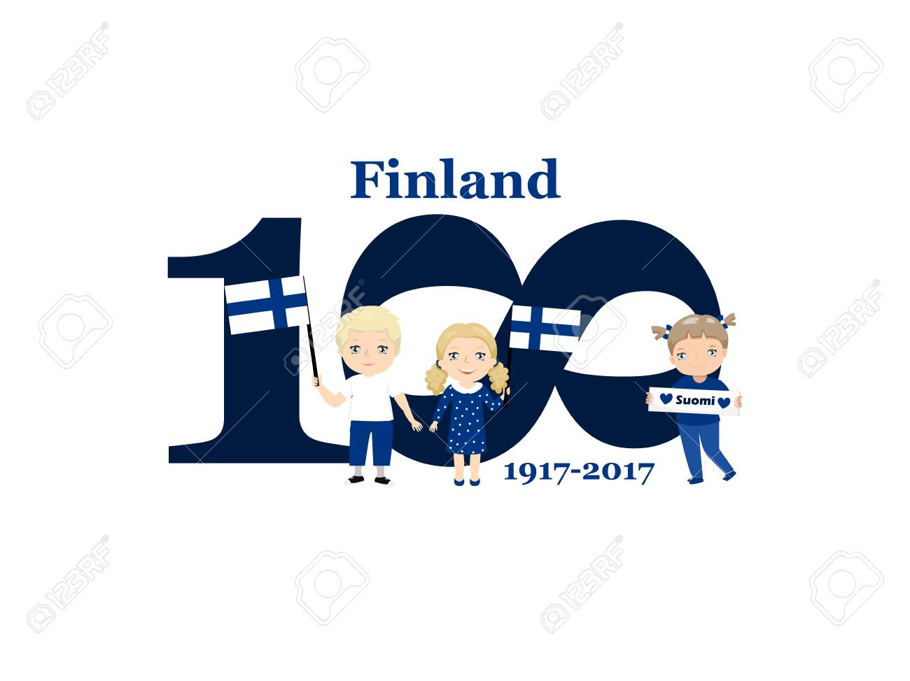 Greeting card 100 anniversary of the independence of finland greeting card 100 anniversary of the independence of finland december 6th kids logo stock vector m4hsunfo