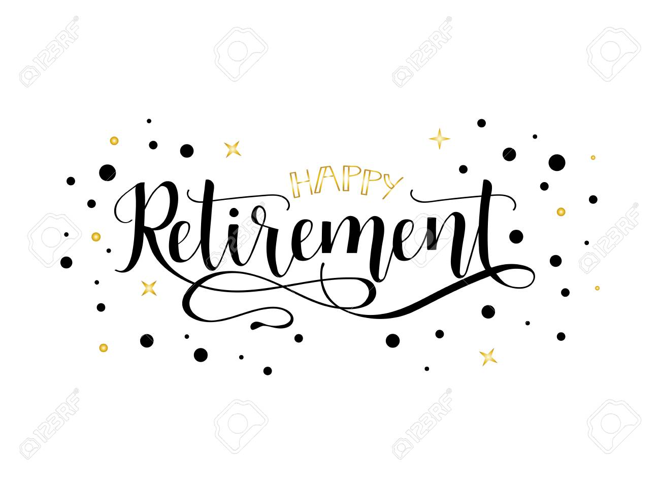 Happy retirement lettering. Hand drawn vector illustration, element for flyers, banner, postcards and posters, modern calligraphy. - 96243458