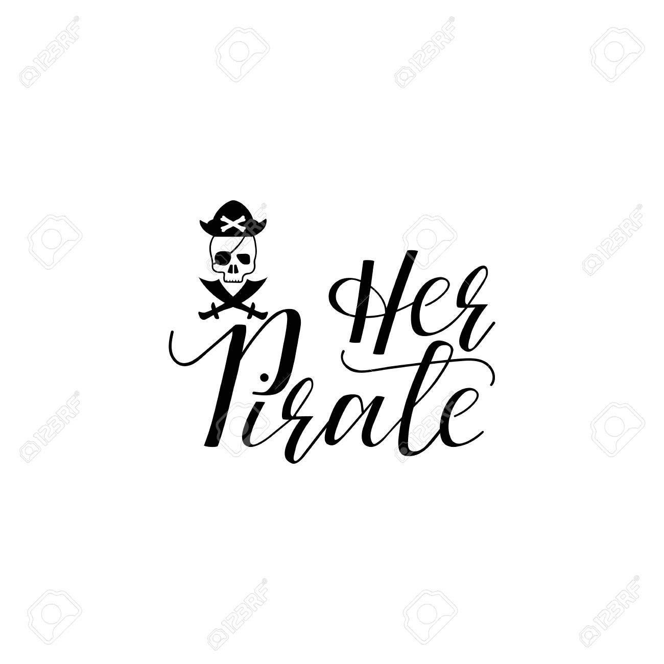 Her Pirate Lettering Hand Drawn Vector Illustration Element For Flyers Banner Postcards