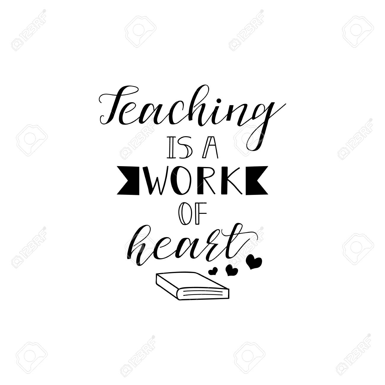Teaching Is A Work Of Heart Teachers Day Hand Lettering For